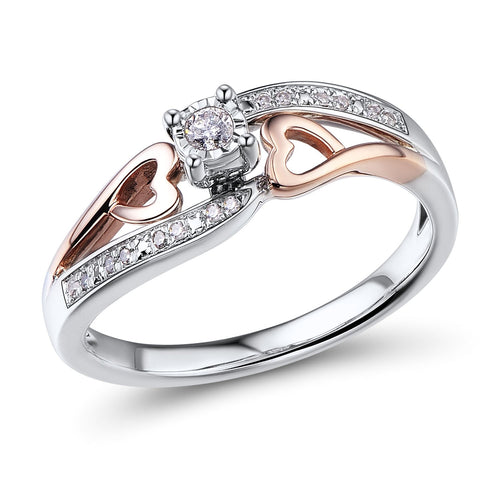 Diamond Promise Ring in 10k Rose Gold - Candy-Rain-Drop-Shop