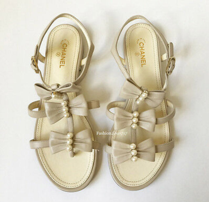CHANEL Beige Pearl Bow Strappy Leather Sandals Flats - Candy-Rain-Drop-Shop