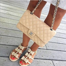 Load image into Gallery viewer, CHANEL Beige Pearl Bow Strappy Leather Sandals Flats - Candy-Rain-Drop-Shop