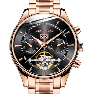 Gold Leather Mechanical Wrist Watches - Candy-Rain-Drop-Shop