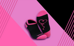 Women's Black W/ Pink Whiz - Ankle Socks