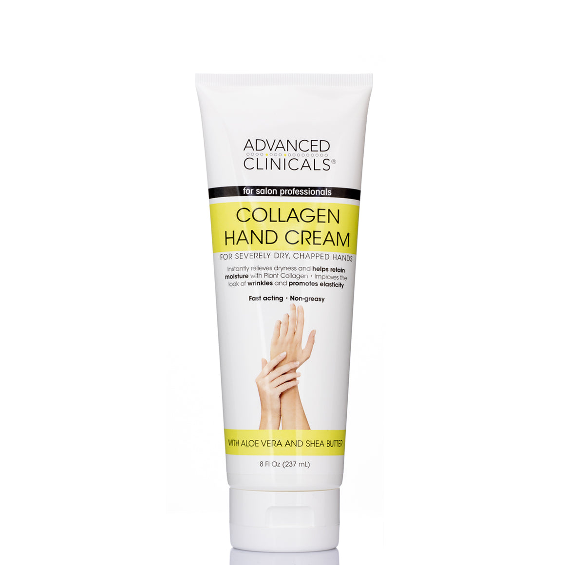 fast acting and non greasy collagen hand cream with aloe vera and shea butter, instantly relieves dry hands