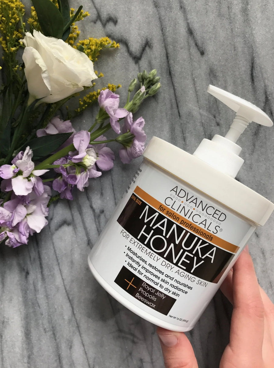 16oz manuka honey for extremely dry aging skin, restores and nourishes skin