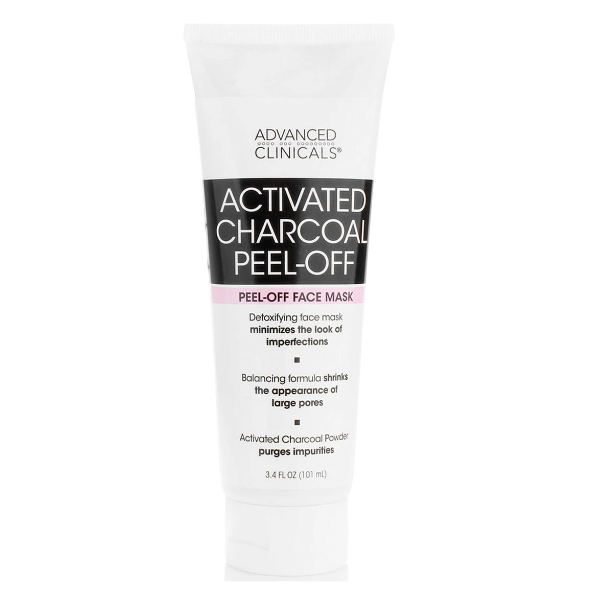 3.4 oz, activated charcoal peel off mask, minimizes imperfections