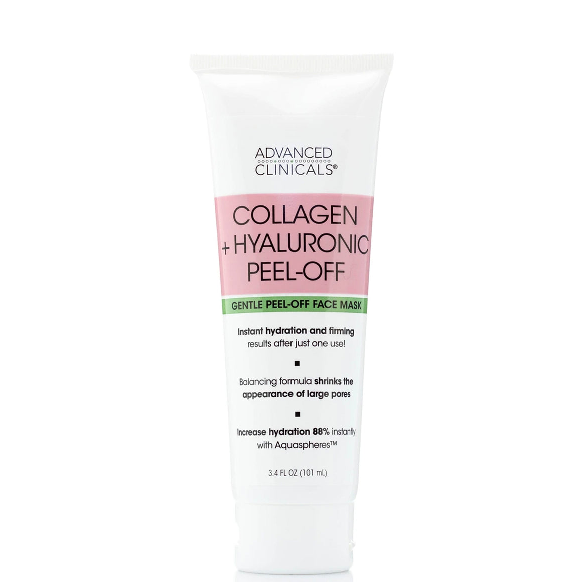 3.4oz collagen and hyaluronic peel-off face mask, instant hydration and powers