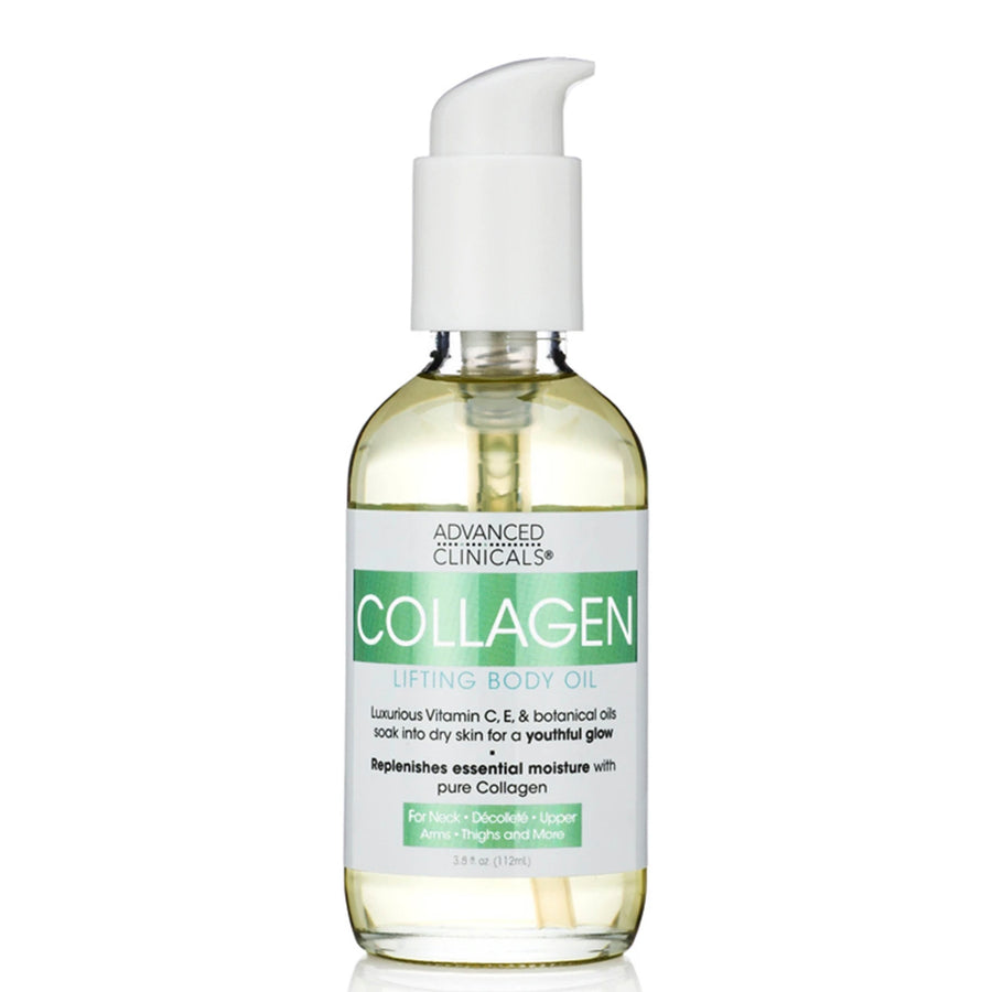 3.5oz collagen lifting body oil, vitamin c, e and botanical oils, pure collagen, youthful glow