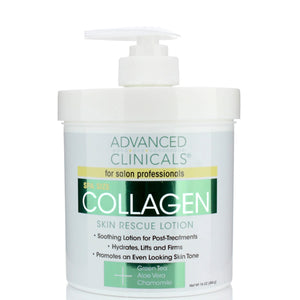 16oz collagen rescue lotion, hydrates lifts and firms with green tea, aloe vera, chamomile