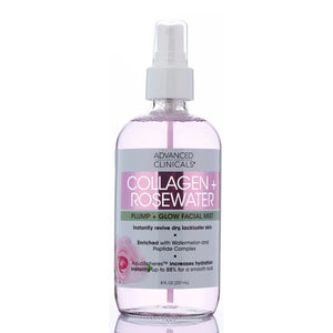 8oz, collagen rosewater plump and glow facial , hydration, mist, enricnhed with watermelon and peptide complex