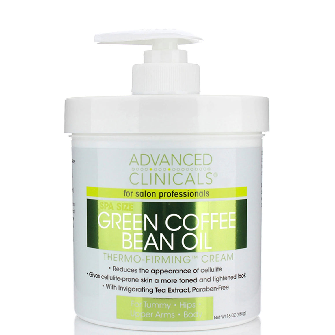 16oz green coffee bean oil, thermo-firming cream, reduces appearance of cellulite, paraben free, full body