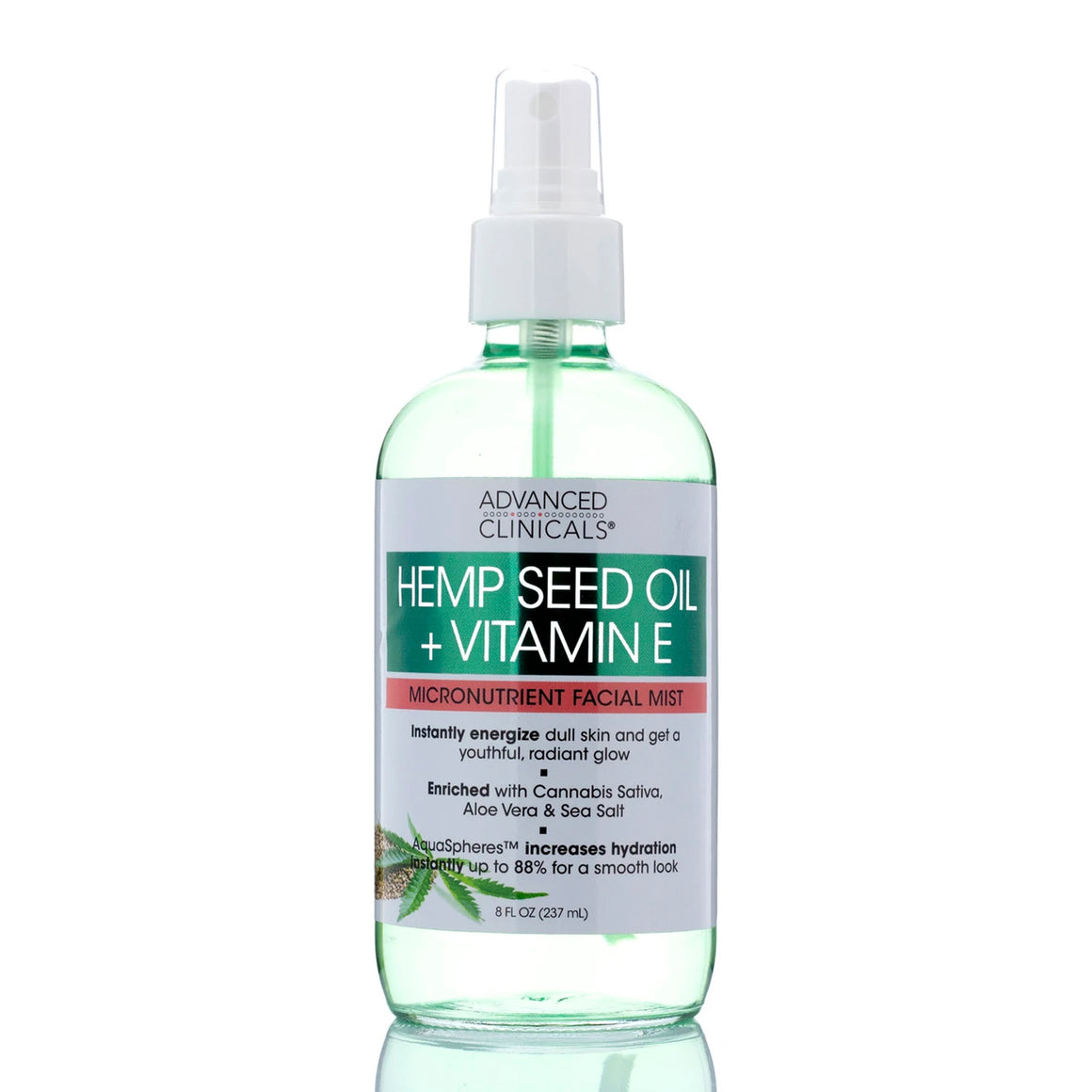 8oz hemp seed oil and vitamin E, aloe vera, sea salt, micronutrient facial mist, radiant glow
