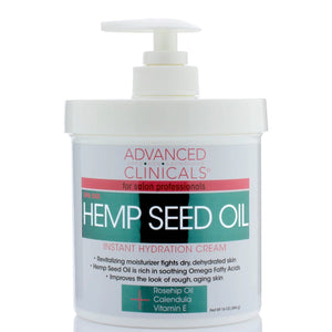 16oz hemp seed oil, hydration cream, with rosehip oil and vitamin E