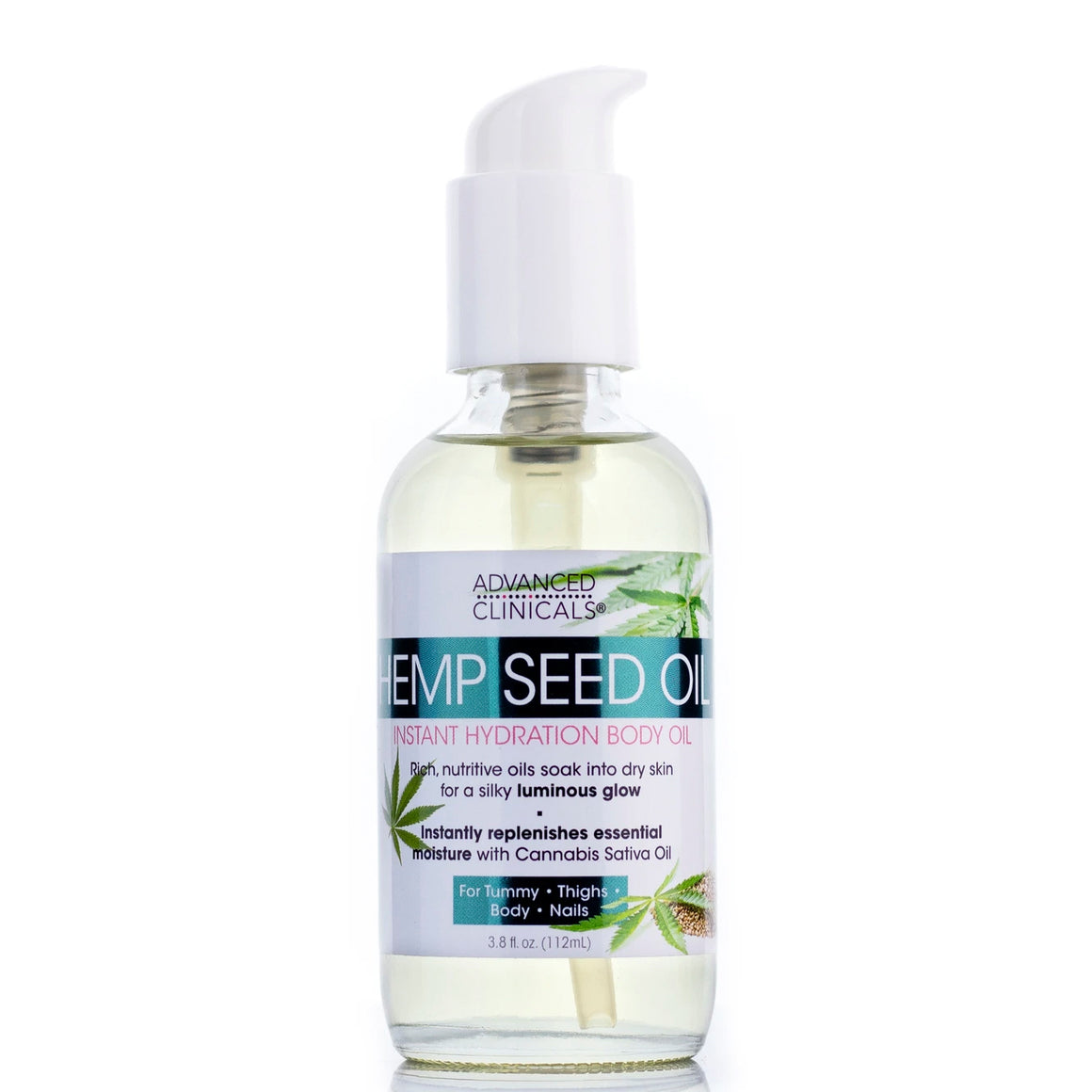 3.4oz hemp seed body oil with cannabis sativa oil, luminous glow