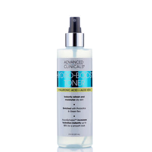 hyaluronic acid and aloe vera hydro boost toner, refreshes and moisturize dry skin, enriched with probiotics and green tea