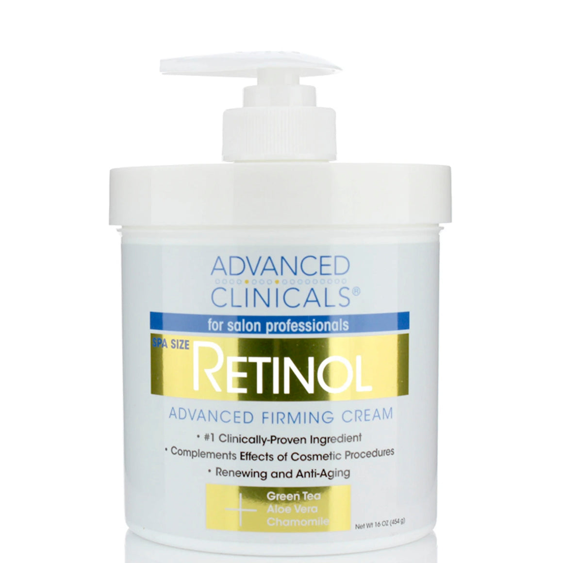 16oz retinol advanced firming cream with green tea, aloe vera, and chamomile