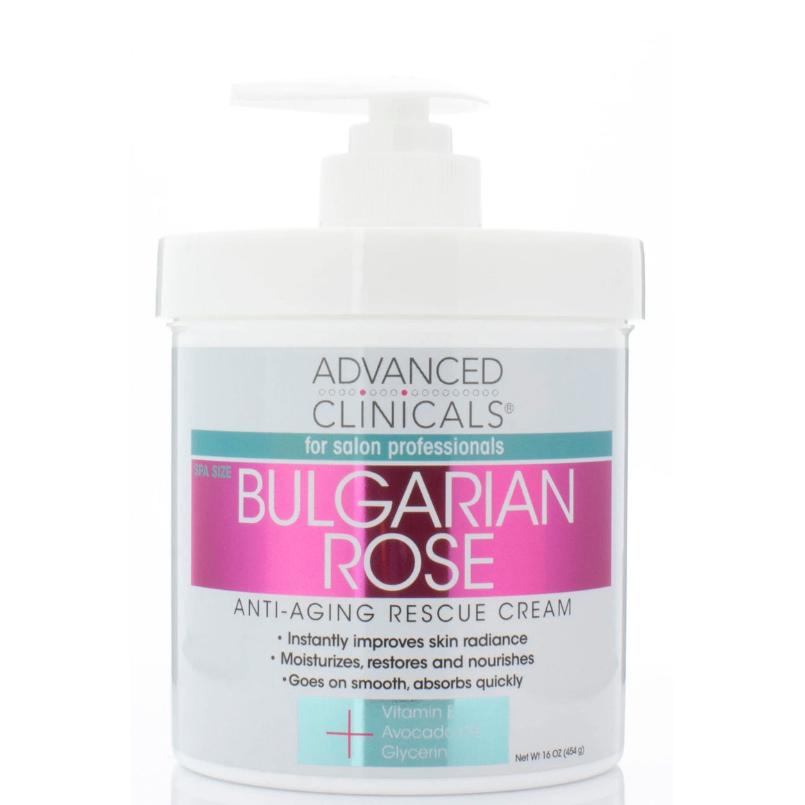 spa size bulgarian rose anti-aging rescue cream, improves skin radiance with vitamin e and avocado oil