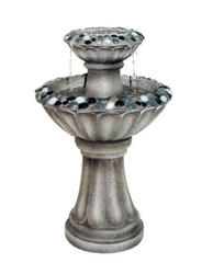 Grey Two Tier Pedestal Fountain