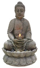 Alpine Corporation Buddha Outdoor Fountain with LED Lights
