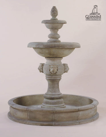 Giannini Garden Quattro Lion Two Tier Pond Fountain