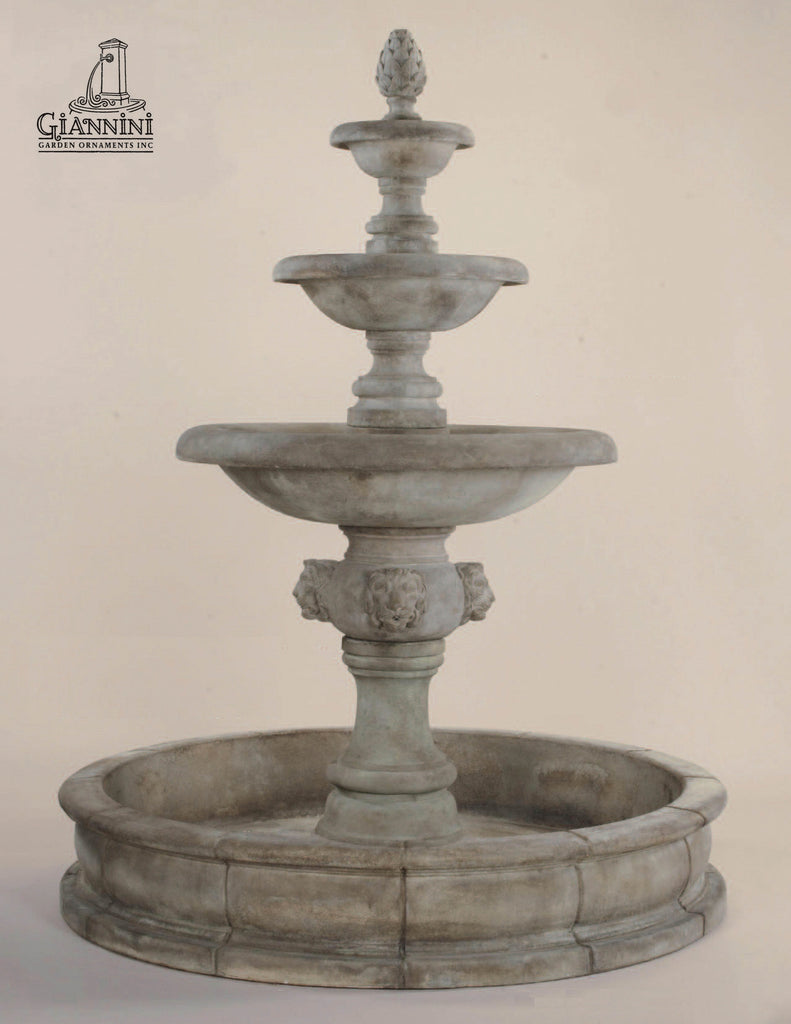 Quattro Lion Three Tier Pond Fountain
