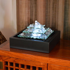 Glacier Ice Lighted Glass Bubbling Tabletop Water Fountain