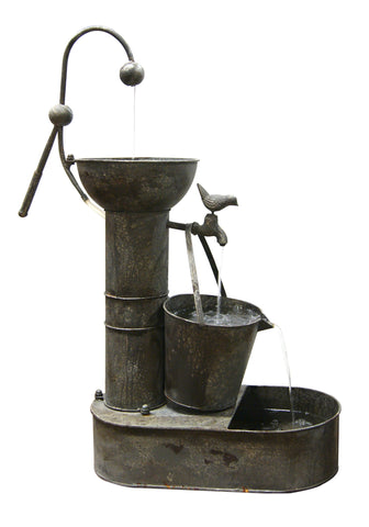 Rustic Metal Tiering Water Outdoor Fountain