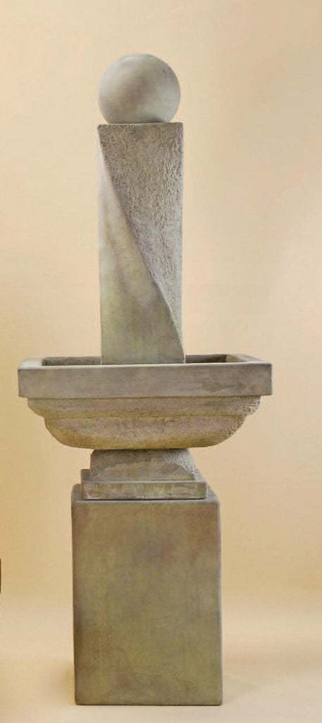 Giannini Garden Mod Twist Fountain Tall With Ball