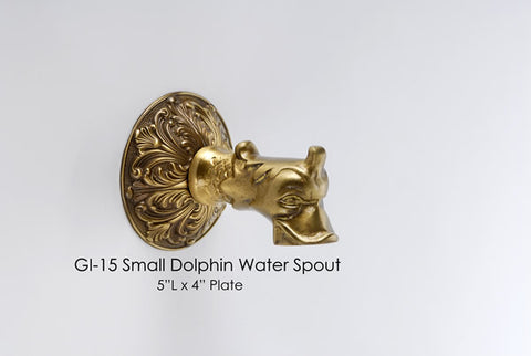 Small Dolphin Solid Bronze Water Spout