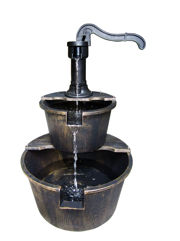 Two Tier Barrel & Pump Bronze Fountain
