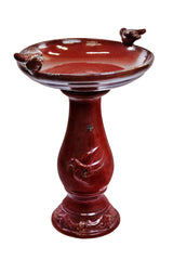 Antique Red Ceramic Birdbath with Birds