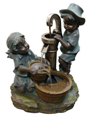 Alpine Boy and Girl Fetching Water Fountain