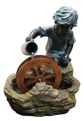 Alpine Corporation Bronze Boy with Wheel Fountain