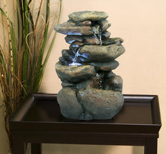 Alpine Corporation Tiered Rock Tabletop Fountain