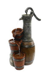 Vintage Barrel Water Pump with Buckets Fountain