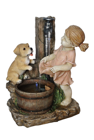 Girl with Dog and Spout Bucket Fountain