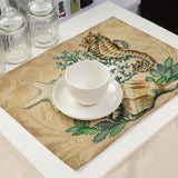 Beautiful Handmade Linen Table Mats With Stunning Marine Designs.