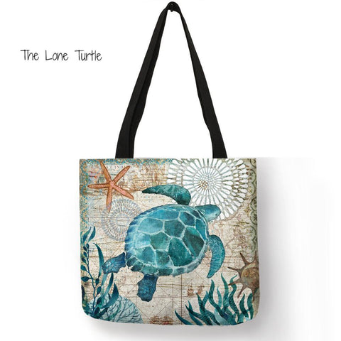 Handmade Tote Bags With Beautiful Marine Creature Designs.
