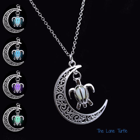 Luminous, Silver Plated, Turtle In The Moon Necklace