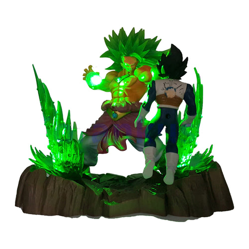 Figurine de Broly SSJ3 VS Vegeta avec LED de 18 cm