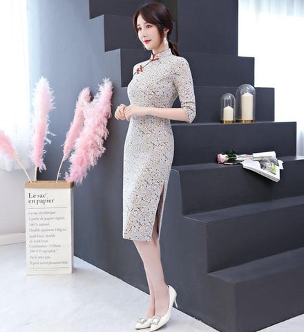 Robe Chinoise Moderne Grise Qipao