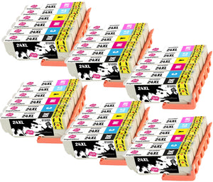 INK INSPIRATION® Replacement for Epson 24 24XL Ink Cartridges 36-Pack Use with Epson Expression Photo XP-760 XP-750 XP-860 XP-850 XP-960 XP-950 XP-55 Black/Cyan/Magenta/Yellow/Light Cyan/Light Magenta