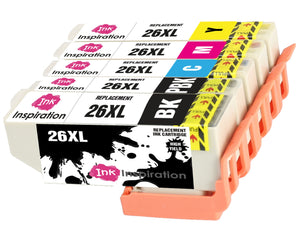 INK INSPIRATION® Replacement for Epson 26 26XL Ink Cartridges 5-Pack, Use with Epson Expression Premium XP-610 XP-620 XP-600 XP-700 XP-605 XP-615 XP-710 XP-520 XP-800 XP-625 XP-720 XP-820 XP-510