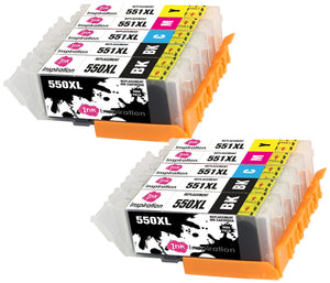 INK INSPIRATION® Replacement for Canon PGI-550XL CLI-551XL Ink Cartridges 10-Pack, Use with Canon Pixma iP7250 MX925 MG6350 MG5450 MG5550 MG5650 MG6450 MG6650 MG7150 MG7750 iX6850 iP8750 MX725