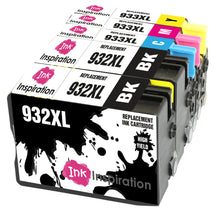 Load image into Gallery viewer, INK INSPIRATION® Replacement for HP 932XL HP 933XL 932 933 XL Ink Cartridges 5-Pack, Use with HP Officejet 6600 6700 7110 7610 7612 7620 6100 7510 7600, Black/Cyan/Magenta/Yellow