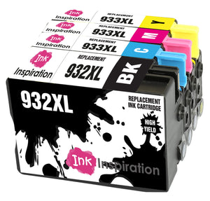 INK INSPIRATION® Replacement for HP 932XL HP 933XL 932 933 XL Ink Cartridges 4-Pack, Use with HP Officejet 6600 6700 7110 7610 7612 7620 6100 7510 7600, Black/Cyan/Magenta/Yellow