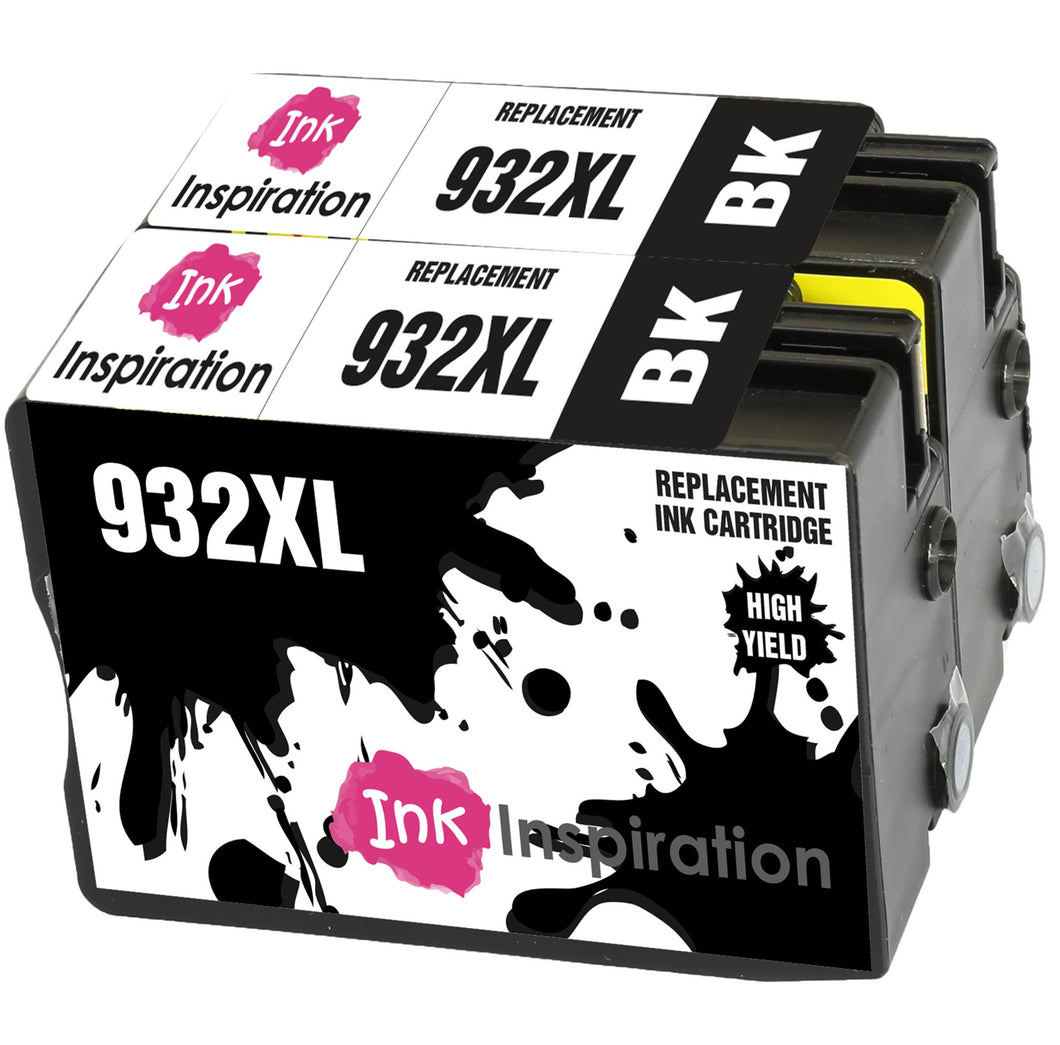 INK INSPIRATION® Replacement for HP 932XL 932 XL CN053AE Black Ink Cartridges 2-Pack, Use with HP Officejet 6600 6700 7110 7610 7612 7620 6100 7510 7600