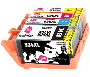 INK INSPIRATION® Replacement for HP 934XL HP 935XL 934 935 XL Ink Cartridges 4-Pack, Use with HP OfficeJet Pro 6830 6230 6220 6825 6835 OfficeJet 6820 6815 6812, Black/Cyan/Magenta/Yellow