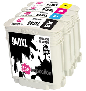 INK INSPIRATION® Replacement for HP 940 940XL Ink Cartridges 4-Pack, Use with HP OfficeJet Pro 8000 8500 8500A A809a A809n A909a A909g A910a A910g, Black/Cyan/Magenta/Yellow