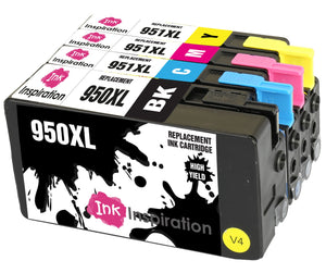 INK INSPIRATION® Replacement for HP 950XL HP 951XL 950 951 XL Ink Cartridges 4-Pack, Use with HP OfficeJet Pro 8600 8610 8620 8100 251dw 276dw 8615 8616 8625 8630 8640 8660, Black/Cyan/Magenta/Yellow