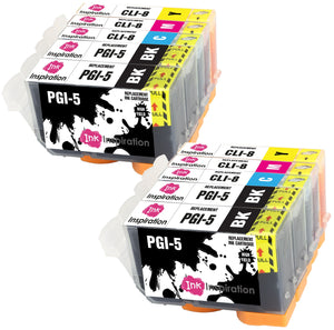INK INSPIRATION® Replacement for Canon PGI-5 CLI-8 Ink Cartridges 10-Pack, Use with Canon Pixma iX4000 iX5000 iP3300 iP3500 MP510 MP520 MX700, Black/Cyan/Magenta/Yellow