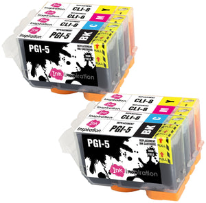 INK INSPIRATION® Replacement for Canon PGI-5 CLI-8 Ink Cartridges 8-Pack, Use with Canon Pixma iX4000 iX5000 iP3300 iP3500 MP510 MP520 MX700, Black/Cyan/Magenta/Yellow